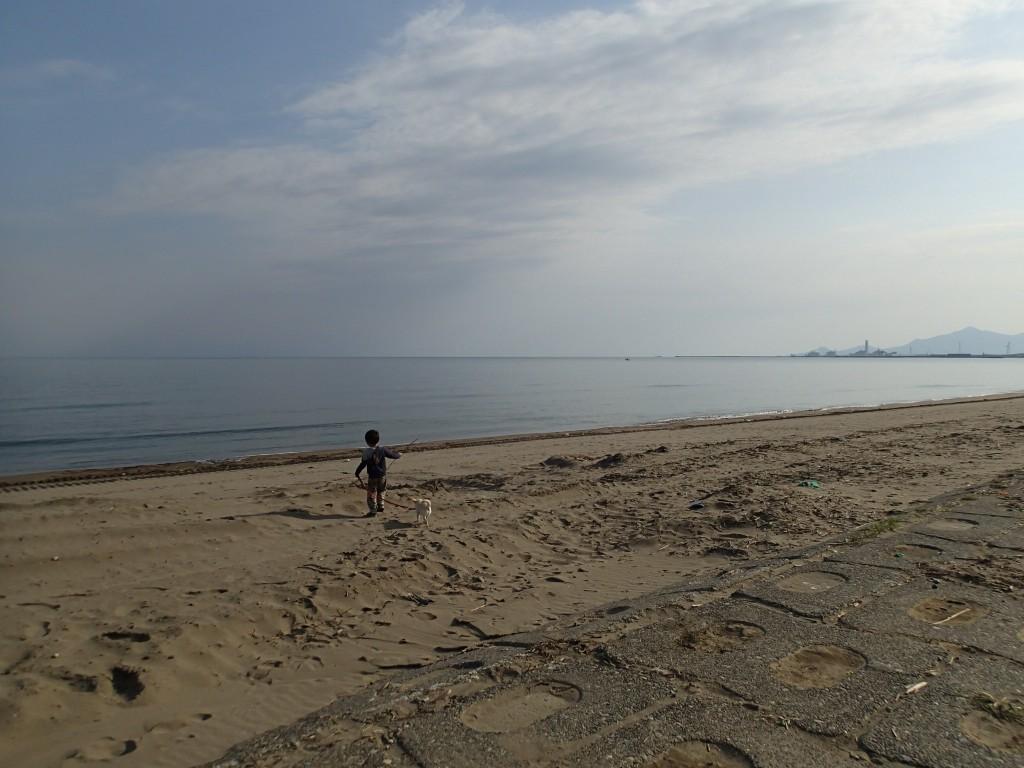 7:20 やっと起きてきたので散歩しながら薪を拾いに。海には釣り人とサーファーがちらほら。