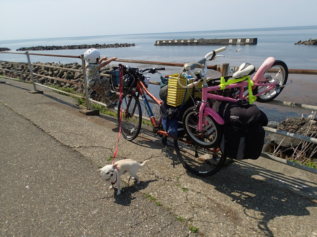 13:00 自転車を積んで出発。幅が広いのですれ違う人にラリアットしないように注意。